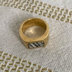 J Crew Gold Ring with Black and White Stripe Stone
